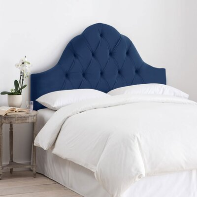 Davina Arched Upholstered Panel Headboard Size: Queen, Upholstery: Navy