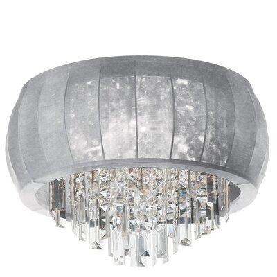 Reginald 8-Light Crystal Flush Mount Shade Color: Silver Lycra