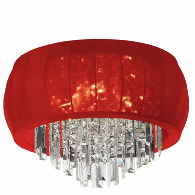 Reginald 8-Light Crystal Flush Mount Shade Color: Red Lycra