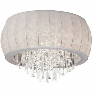 Reginald 8-Light Crystal Flush Mount Shade Color: White Lycra