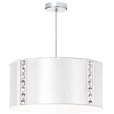Rufus 3-Light Drum Pendant Shade color: Pearl