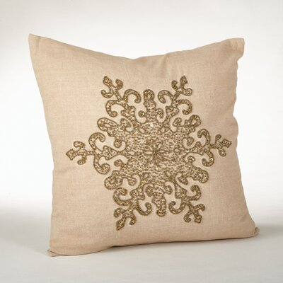Faversham Snowflake Beaded 100% Cotton Throw Pillow Color: Bronze