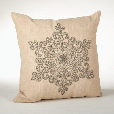 Faversham Snowflake Beaded Cotton Throw Pillow Color: Pewter
