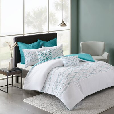 Freidman Cotton 7 Piece Duvet Cover Set Size: Full/Queen, Color: White/Aqua