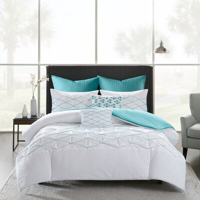 Freidman Cotton 7 Piece Duvet Cover Set Size: King/California King, Color: White/Aqua