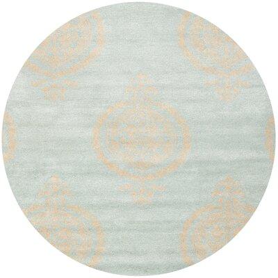 Rhona Blue & Beige Area Rug Rug Size: Round 6