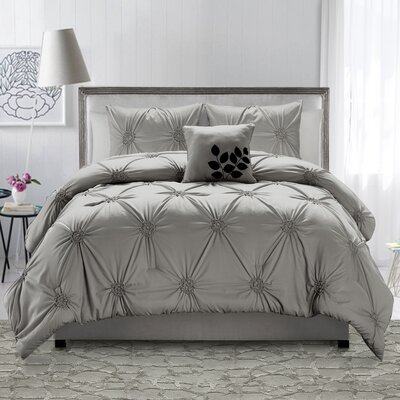 Volker 4 Piece Comforter Set Color: Gray, Size: King