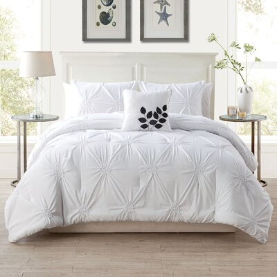 Dilsen 4 Piece Comforter Set Size: Queen, Color: White