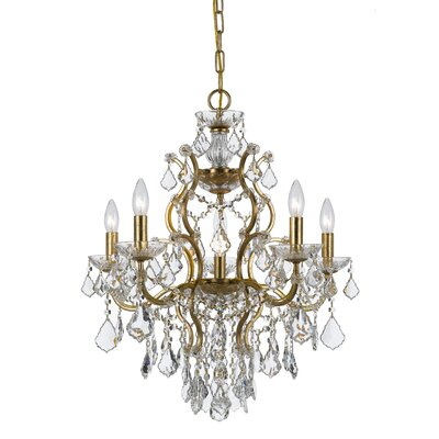 Maira 6-Light Crystal Chandelier Finish: Antique Gold, Crystal Grade: Standard
