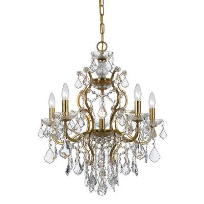 Maira 6-Light Crystal Chandelier Finish: Antique Gold, Crystal Grade: Standard