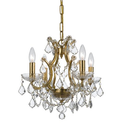Maira 4-Light Crystal Chandelier Finish: Antique Gold, Crystal Grade: Elements