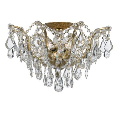 Maira 5-Light Semi Flush Mount Finish: Antique Gold, Crystal Grade: Standard