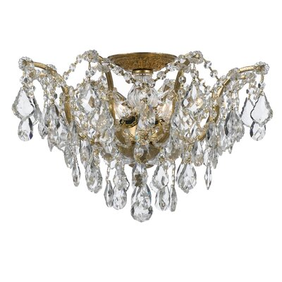 Maira 5-Light Semi Flush Mount Finish: Antique Gold, Crystal Grade: Swarovski Elements