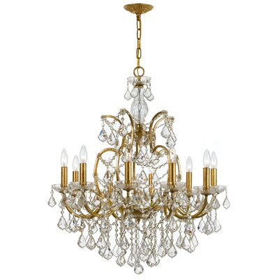 Maira 10-Light Crystal Chandelier Finish: Antique Gold, Crystal Grade: Clear
