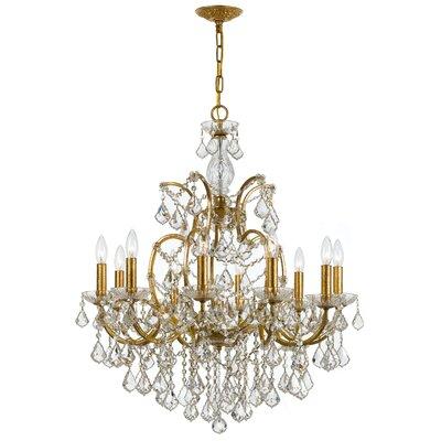Maira 10-Light Crystal Chandelier Finish: Antique Gold, Crystal Grade: Swarovski Elements