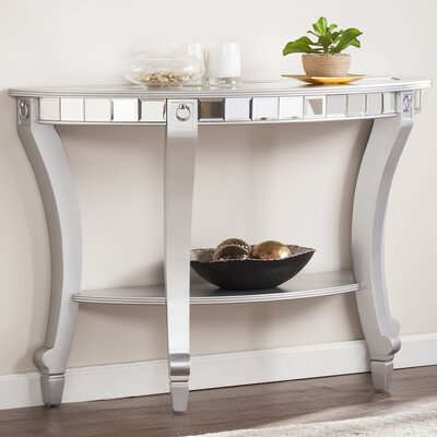 Jocelyn Mirrored Demilune Console Table