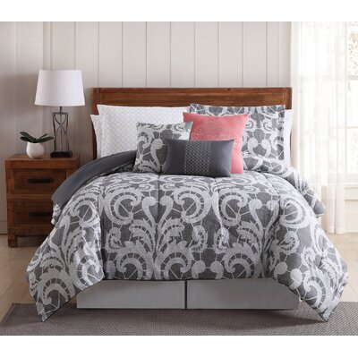 Campbell Lace Scroll 12 Piece Comforter Set Size: King