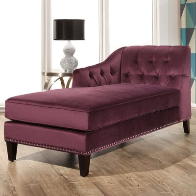 Macdonald Velvet Chaise Lounge Upholstery: Purple