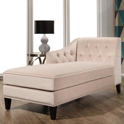Macdonald Velvet Chaise Lounge Upholstery: Ivory