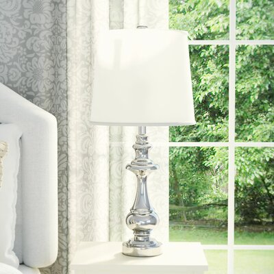 Delia 29 Table Lamp Color: Chrome Base / White Shade