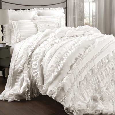 Olga 4 Piece Comforter Set Size: King, Color: Ivory