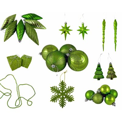 125 Piece Shatterproof Ice Palace Christmas Ornament Set Color: Tropical Green Kiwi