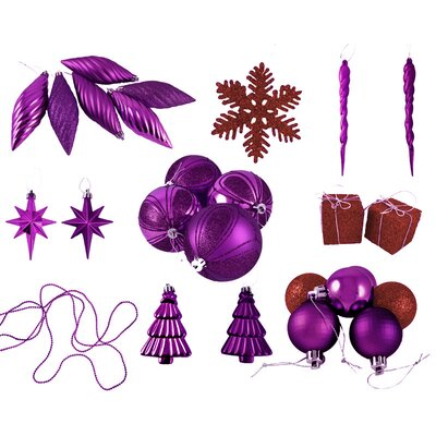 125 Piece Shatterproof Ice Palace Christmas Ornament Set Color: Purple Passion