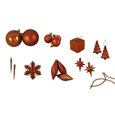 125 Piece Shatterproof Ice Palace Christmas Ornament Set Color: Burnt Orange