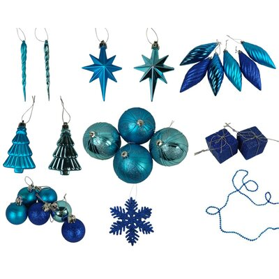 125 Piece Shatterproof Ice Palace Christmas Ornament Set Color: Peacock Blue