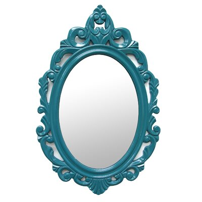Accent Baroque Oval Wall Mirror Color: Emerald Blue