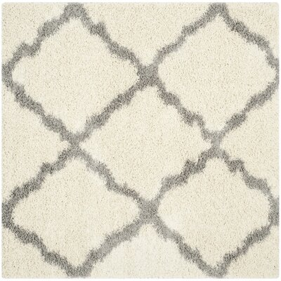Alice Ivory/Gray Area Rug Rug Size: Square 6