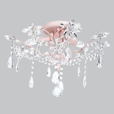 Theresa 3-Light Crystal Chandelier Base Color: Pink