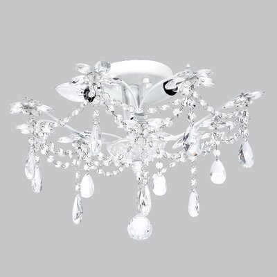 Theresa 3-Light Crystal Chandelier Base Color: White