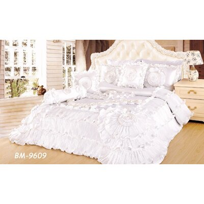 Hampden Wedding Chamber Comforter Set Color: White, Size: Queen