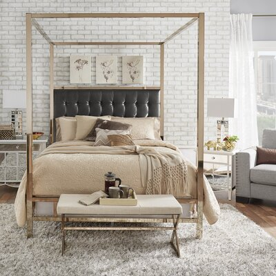 Alek Upholstered Canopy Bed Size: Queen, Finish: Champagne Gold