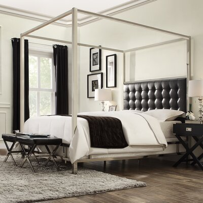 Alek Upholstered Canopy Bed Size: Queen, Finish: Chrome