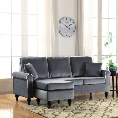 Nieve Reversible Chaise Sectional Upholstery: Gray