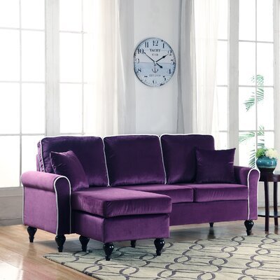 Nieve Reversible Chaise Sectional Upholstery: Purple