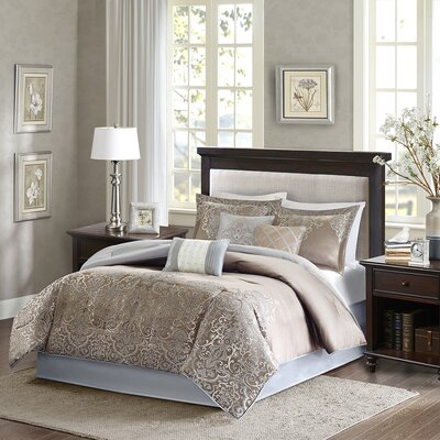 Crowborough 7 Piece Comforter Set Color: Blue / Brown, Size: Queen