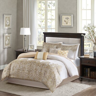 Norah 7 Piece Comforter Set Size: Queen, Color: Gold