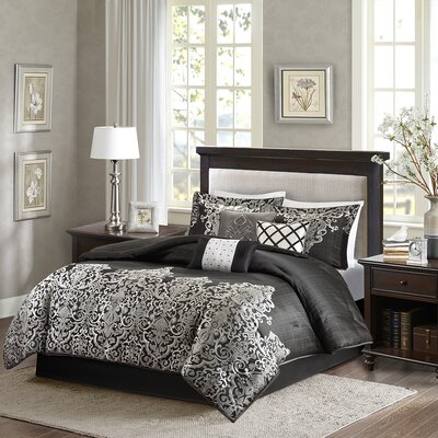 Crowborough 7 Piece Comforter Set Size: King, Color: Black / Gray