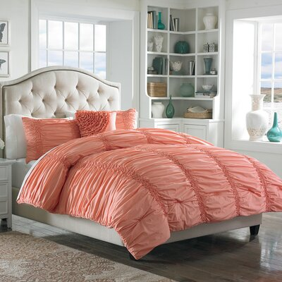 Gregory Cotton Clouds Comforter Set Size: King, Color: Coral