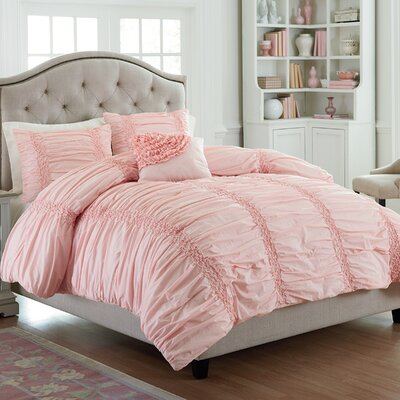 Odele Cotton Clouds Comforter Set Size: Queen, Color: Pink