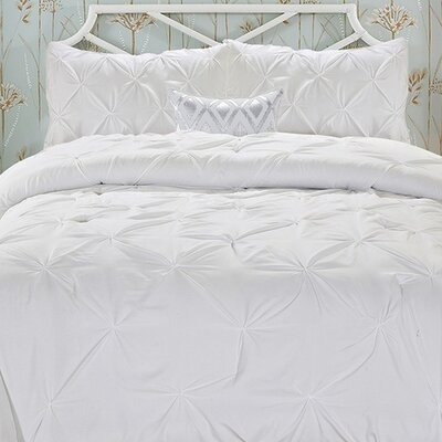 Doline 3 Piece Comforter Set Color: White, Size: Full/Queen