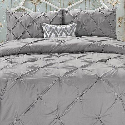 Nyla 3 Piece Comforter Set Color: Gray, Size: King