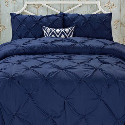 Nyla 3 Piece Comforter Set Color: Navy Blue, Size: King