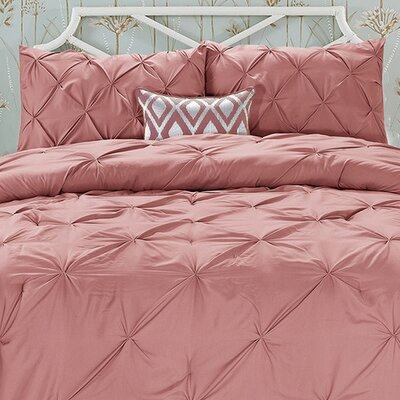Doline 3 Piece Comforter Set Color: Coral, Size: Full/Queen