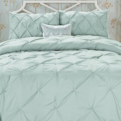 Doline 3 Piece Comforter Set Color: Misty Blue, Size: King