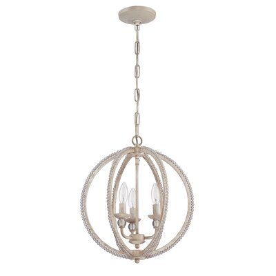 Clarice 3-Light Candle-Style Chandelier Finish: Antique Linen
