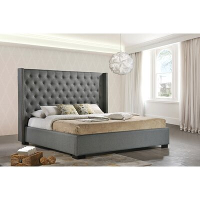 C�dric Upholstered Panel Bed Size: King, Finish: Gray